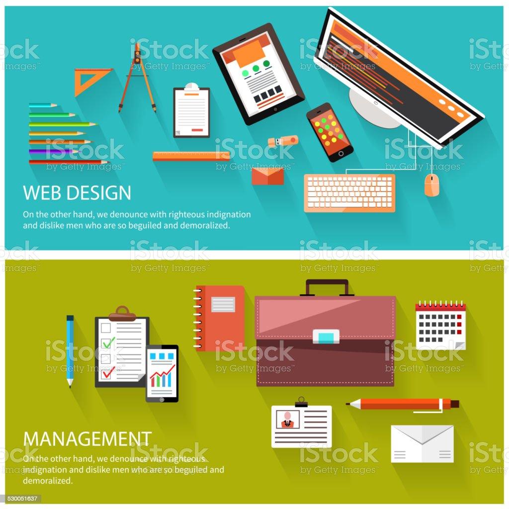 Management und web-design-Konzept, Lizenzfreies management und webdesignkonzept stock vektor art und mehr bilder von aktentasche