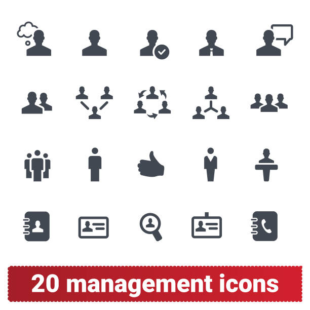 Management, Business Persons And Teamwork Icons Management, human resources, business persons and user vector icons set. Team work, business leadership, ceo and office people pictograms. Isolated on white background. telephone directory stock illustrations