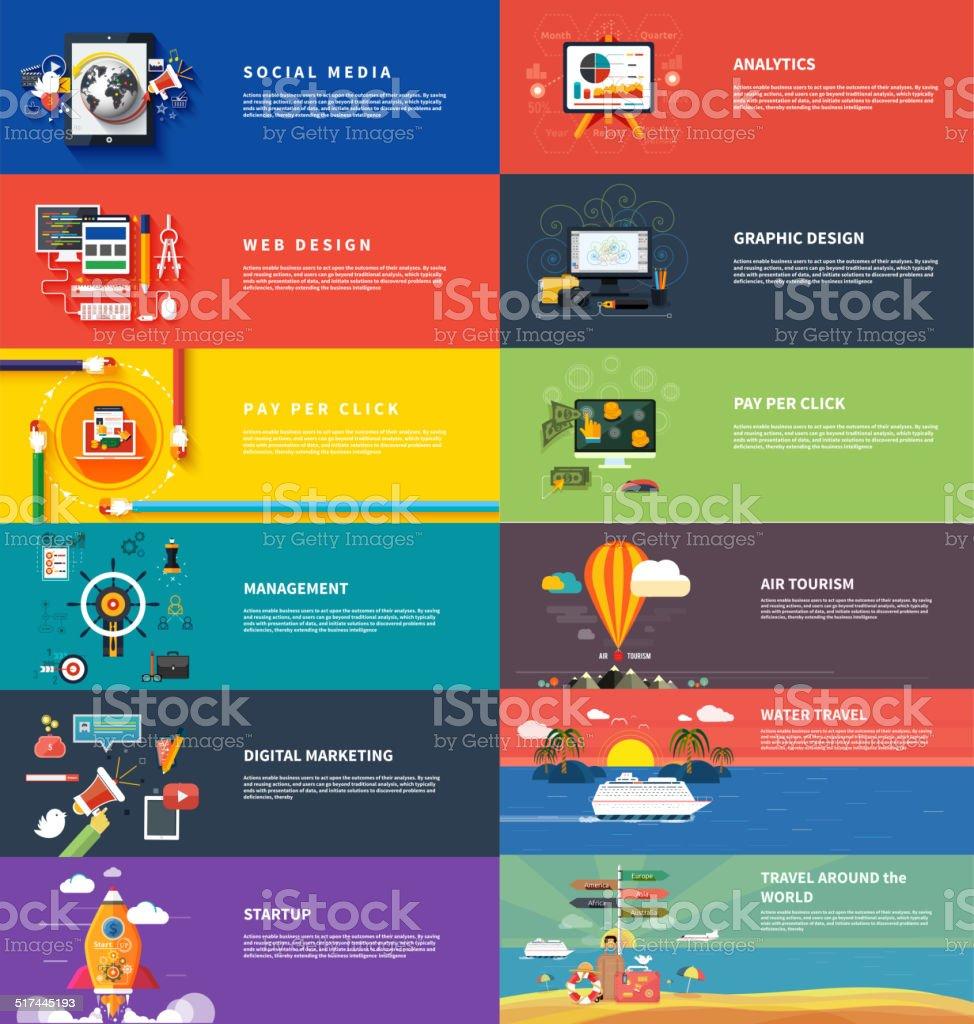 Management digital marketing srartup planning seo vector art illustration