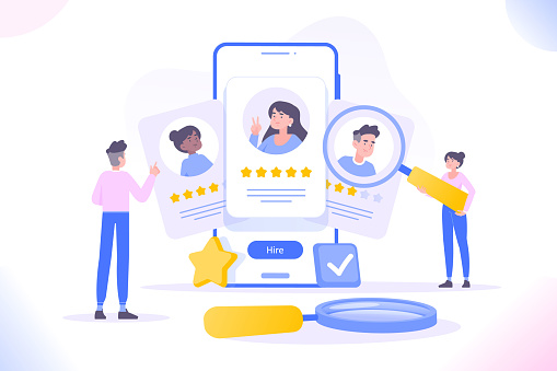 HR management, hiring and recruitment concept. People selecting candidates or freelancers. Human resource managers looking for employees for companies. We are hiring concept, vector illustration