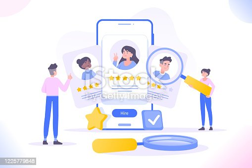istock HR management, hiring and recruitment concept. People selecting candidates or freelancers. Human resource managers looking for employees for companies. We are hiring concept, vector illustration 1225779848