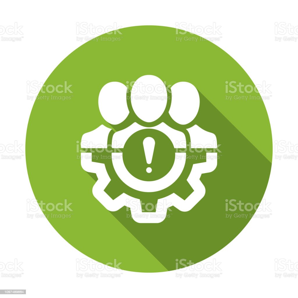 Management icon with exclamation mark. Management icon and alert, error, alarm, danger symbol. Vector icon vector art illustration