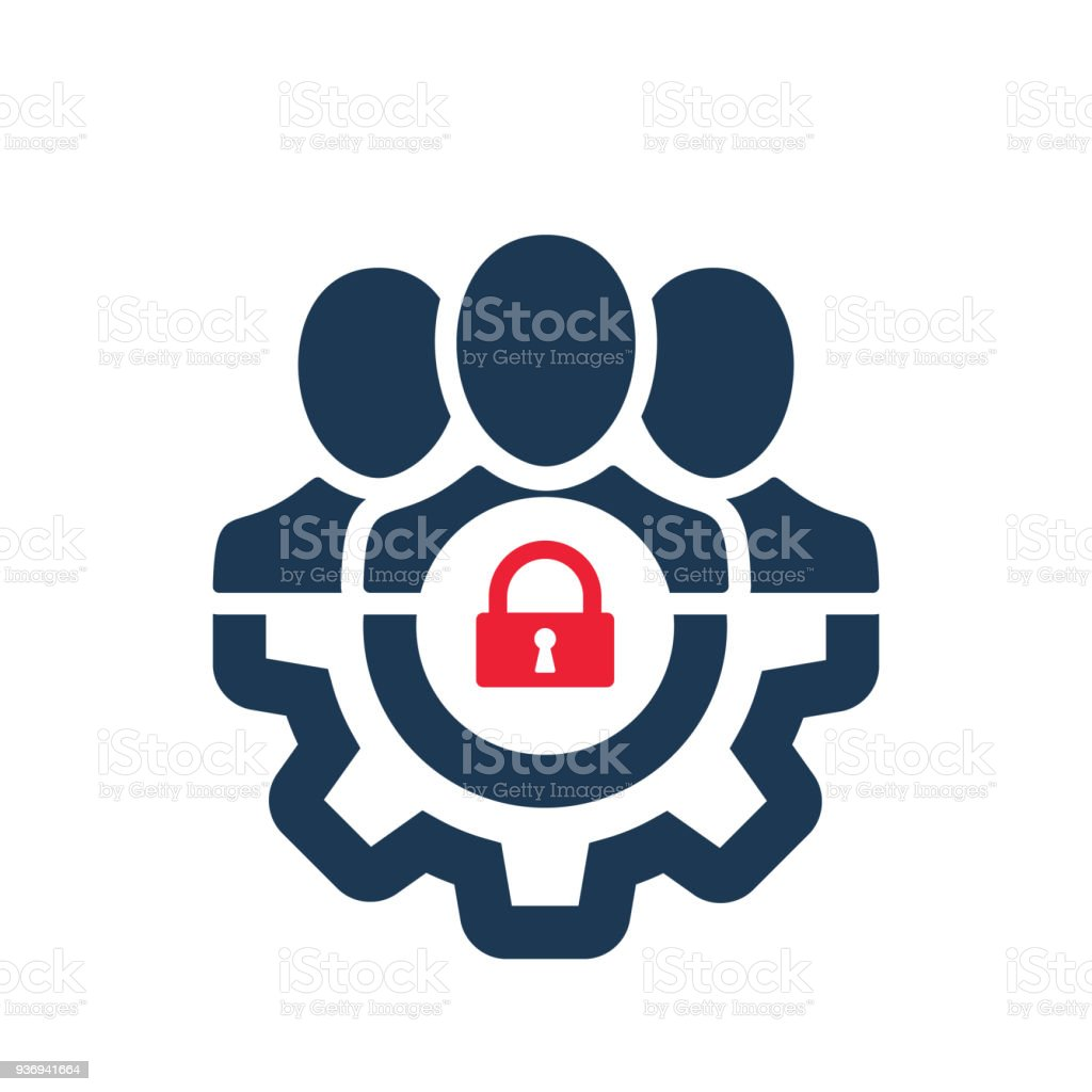 Management icon with padlock sign. Management icon and security, protection, privacy symbol vector art illustration