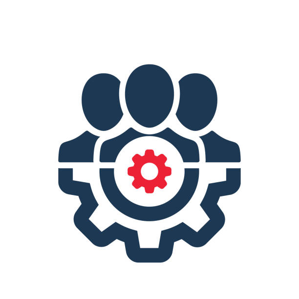 Management icon with settings sign. Management icon and customize, setup, manage, process symbol vector art illustration