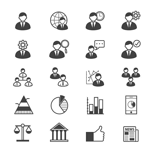 Management Icons Line This is icons set vector illustrations. security equipment stock illustrations