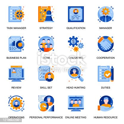 Management icons set in flat style. Headhunting and qualification, online meeting, team cooperation and personal performance signs. Task management and strategy planning pictograms for UX UI design.