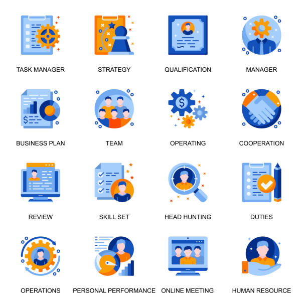 Management icons set in flat style. Headhunting and qualification, online meeting, team cooperation and personal performance signs. vector art illustration
