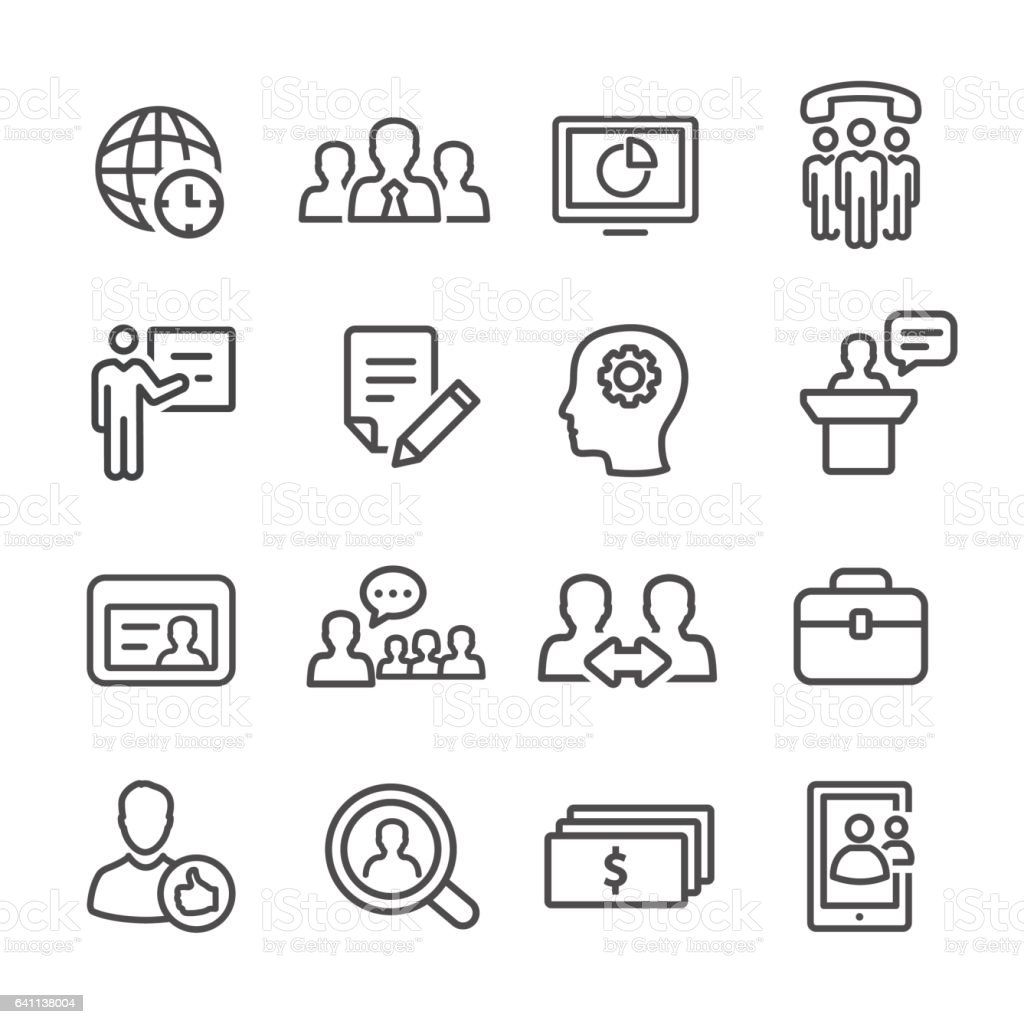 Management Icons Set - Line Series vector art illustration