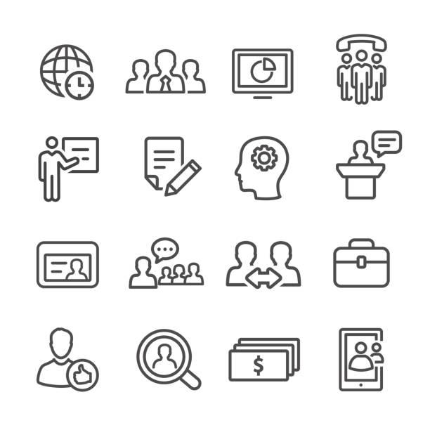 Management Icons Set - Line Series vector art illustration