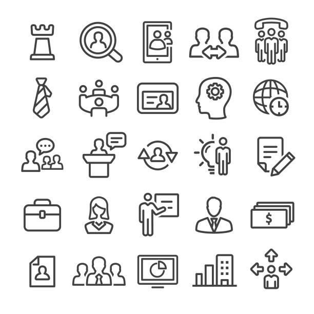 ilustrações, clipart, desenhos animados e ícones de conjunto de ícones de gestão - linha inteligente série - ceo