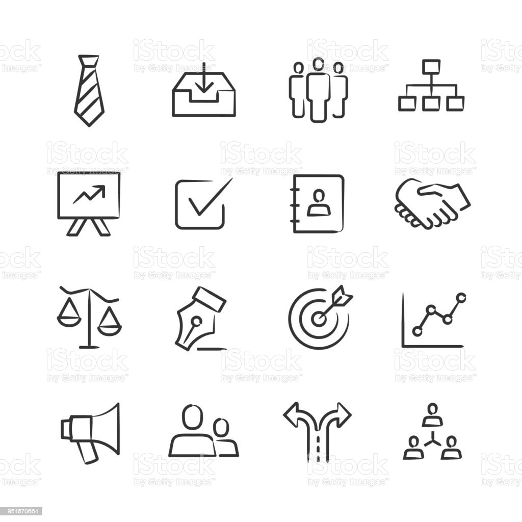Management Icons — Sketchy Series vector art illustration