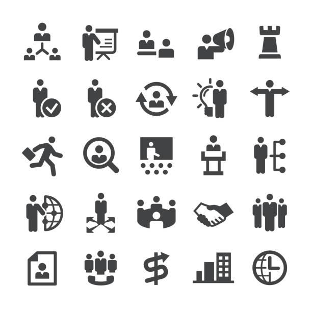 ilustrações, clipart, desenhos animados e ícones de ícones de gestão - série smart - ceo