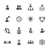 Management, teamwork, Human Resources vector icon set