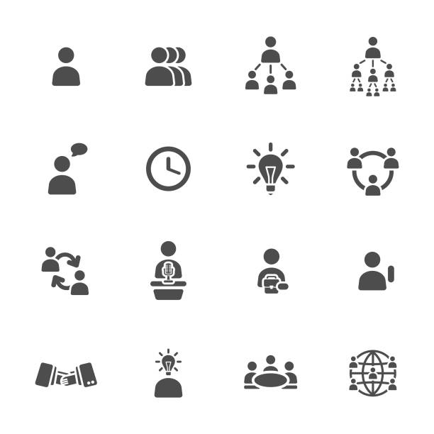 ilustraciones, imágenes clip art, dibujos animados e iconos de stock de iconos de gestión - sin personas