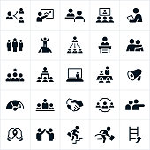 Icons depicting leadership and management concepts. The icons show business leaders in several different management roles including meetings, presentations, training and human resources to name just a few.