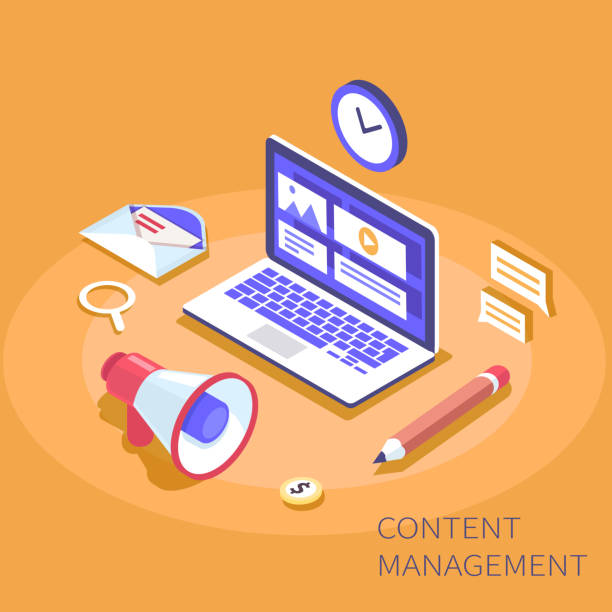 management isometric - contented emotion stock illustrations