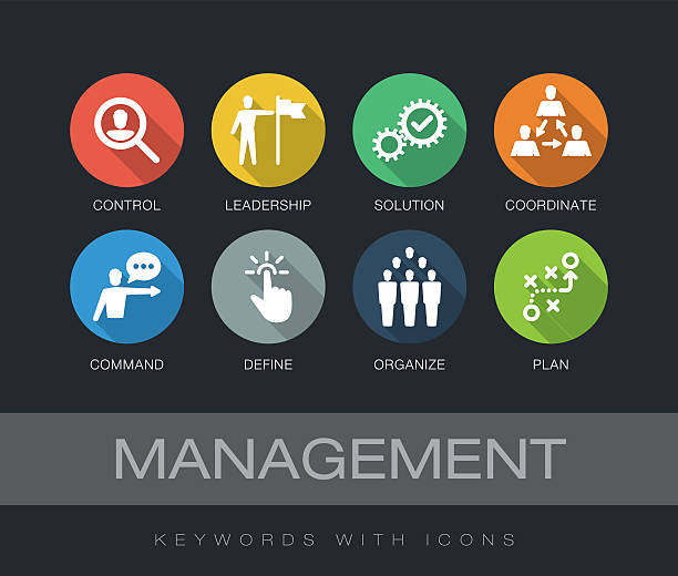 Management keywords with icons Management chart with keywords and icons. Flat design with long shadows. coordination stock illustrations