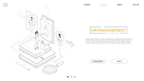 Personalmanagement-Liniendesign isometrisches Web-Banner – Vektorgrafik