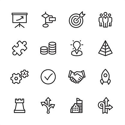Management - outline icon set