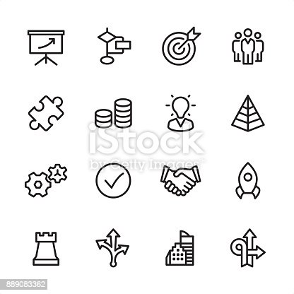 16 line black and white icons / Management Set #35