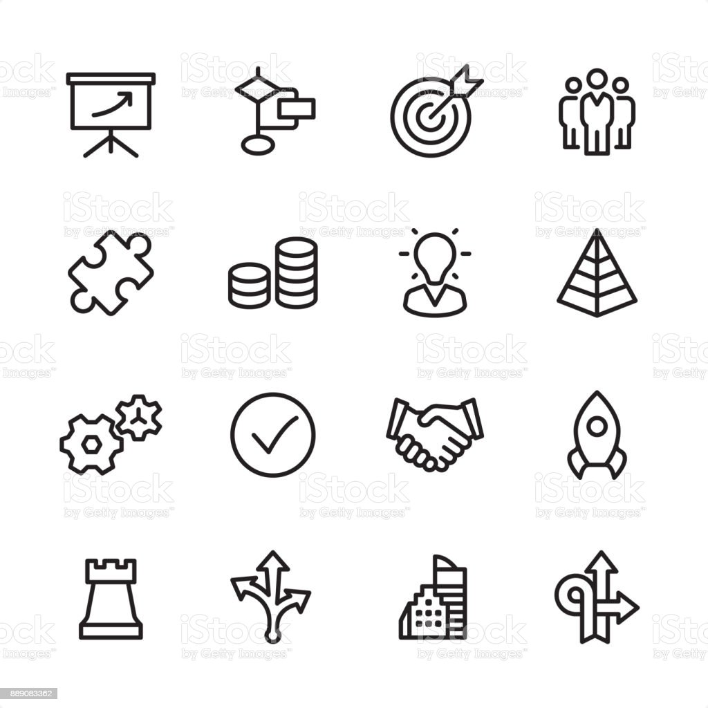 Management - outline icon set vector art illustration