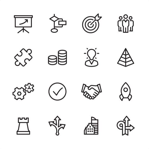 Management - outline icon set 16 line black and white icons / Management Set #35 sports target stock illustrations
