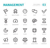 Management  - Pixel Perfect line icons with captions