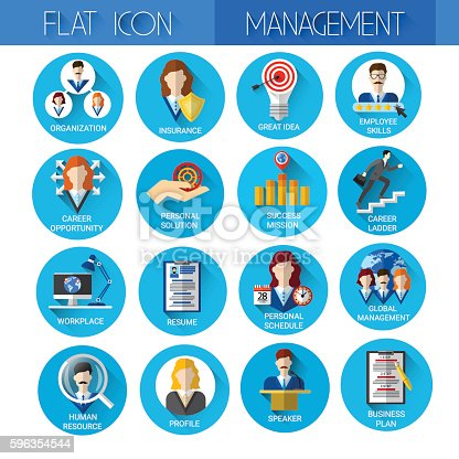 Management Set Business Icon Collection Stock Vector Art & More Images of Business 596354544