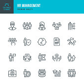 Set of Human Resource Management thin line vector icons.