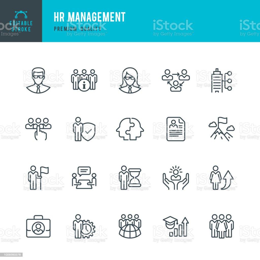 Personalmanagement - Linie Vektor-Icons set – Vektorgrafik