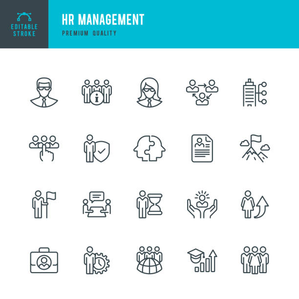 illustrazioni stock, clip art, cartoni animati e icone di tendenza di hr management - set of line vector icons - reparto assunzioni
