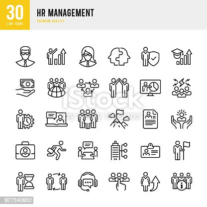 Set of 30 Human Resource Management thin line vector icons.