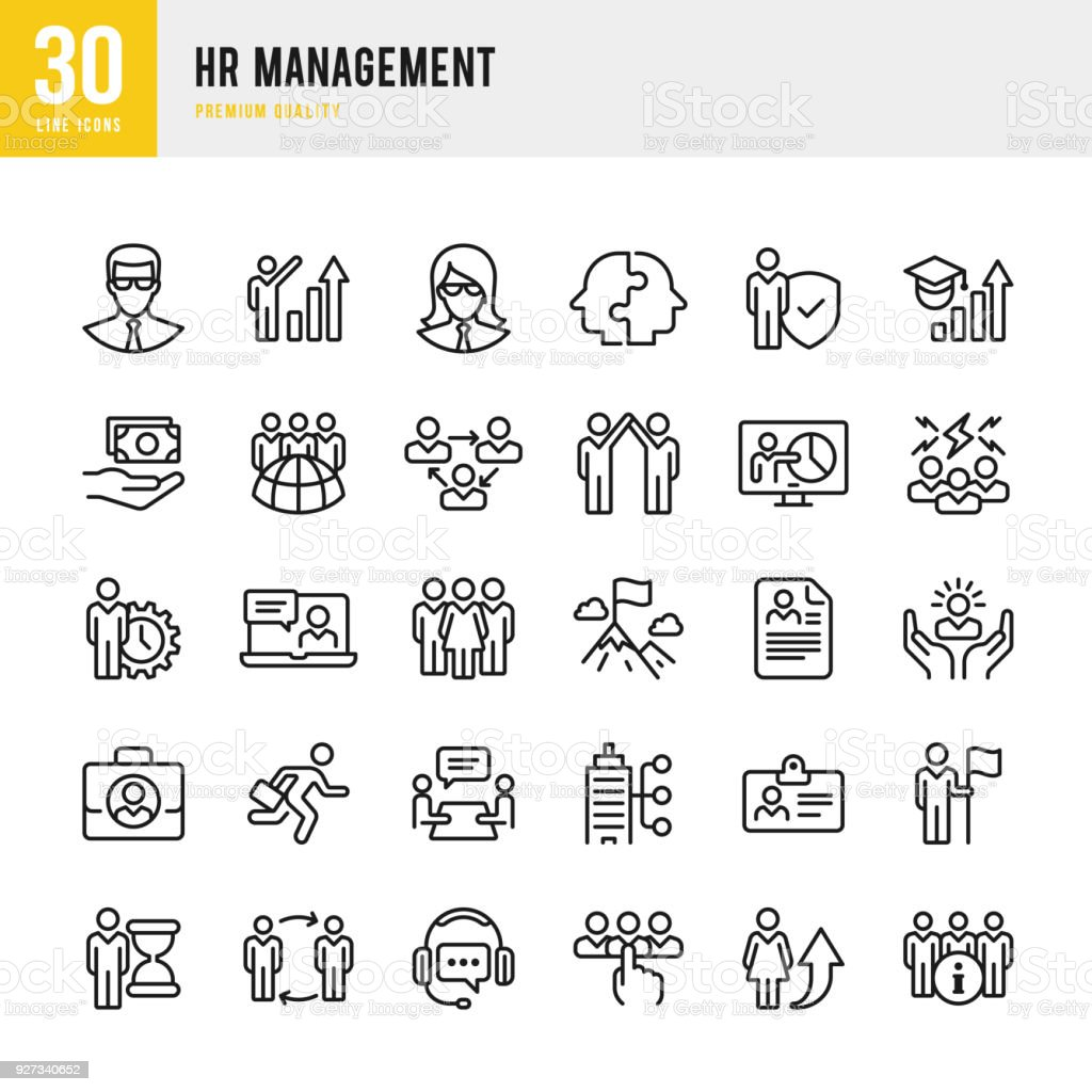 Gestión de recursos humanos - conjunto de iconos de vector de línea delgada - ilustración de arte vectorial