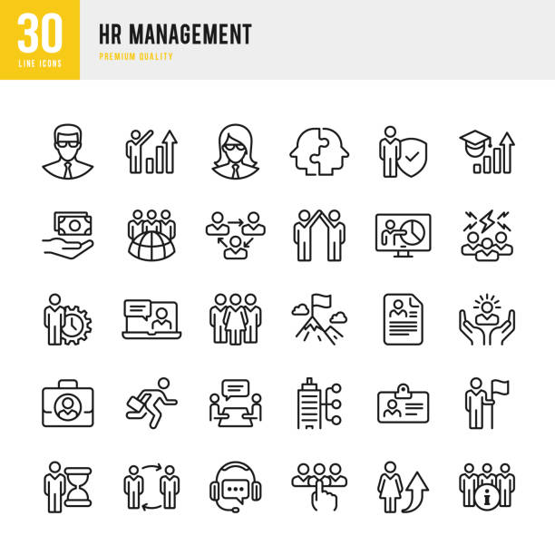 hr management - set of thin line vector icons - office job stock illustrations, clip art, cartoons, & icons