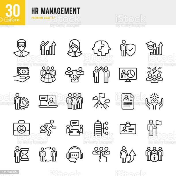Hrmanagement Dunne Lijn Vector Icons Set Stockvectorkunst en meer beelden van Advies