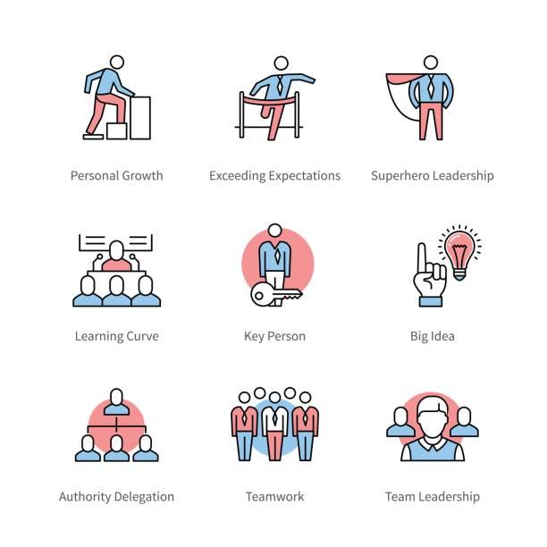 ilustrações, clipart, desenhos animados e ícones de gestão, trabalho em equipe, símbolos do conceito de negócio - ceo