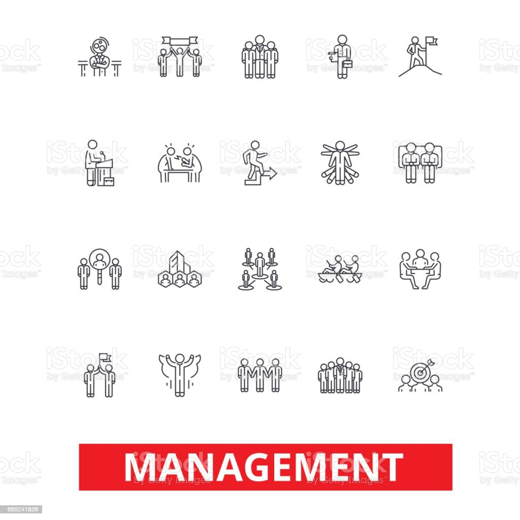 Management, teamwork, marketing, strategy, human resources, organization line icons. Editable strokes. Flat design vector illustration symbol concept. Linear signs isolated on white background management teamwork marketing strategy human resources organization line icons editable strokes flat design vector illustration symbol concept linear signs isolated on white background - arte vetorial de stock e mais imagens de adulto royalty-free