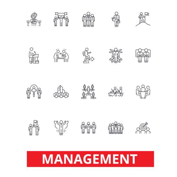 ilustrações, clipart, desenhos animados e ícones de gestão, trabalho em equipe, marketing, estratégia, recursos humanos, ícones de linha de organização. cursos editáveis. conceito de símbolo ilustração vetor design plano. sinais lineares isolados no fundo branco - personal trainer