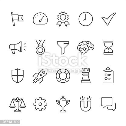 20 Outline style black and white icons / Set #44 Pixel Perfect Principle - all the icons are designed in 64x64px grid, outline stroke 2px.  Management set, CONTENT BY ROWS  First row of outline icons contains:  Flag icon, Gauge, Quality Control, Time Management, Done Check Mark;  Second row contains:  Presentation Megaphone, Medal icon, Separating Funnel, Brainstorming, Hourglass icon;  Third row contains:  Shield icon, Start up, Buoy icon, Chess Rook, Checklist;  Fourth row contains:  Scales of Justice, Gear icon, Trophy, Horseshoe Magnet, Chat Bubble.  Complete Unico PRO collection - https://www.istockphoto.com/collaboration/boards/dB-NuEl7GUGbQYmVq9IlDg