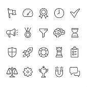 20 Outline style black and white icons / Set #44\nPixel Perfect Principle - all the icons are designed in 64x64px grid, outline stroke 2px.\n\nManagement set,\nCONTENT BY ROWS\n\nFirst row of outline icons contains: \nFlag icon, Gauge, Quality Control, Time Management, Done Check Mark;\n\nSecond row contains: \nPresentation Megaphone, Medal icon, Separating Funnel, Brainstorming, Hourglass icon;\n\nThird row contains: \nShield icon, Start up, Buoy icon, Chess Rook, Checklist;\n\nFourth row contains: \nScales of Justice, Gear icon, Trophy, Horseshoe Magnet, Chat Bubble.\n\nComplete Unico PRO collection - https://www.istockphoto.com/collaboration/boards/dB-NuEl7GUGbQYmVq9IlDg