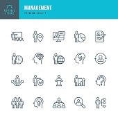 Set of Management thin line vector icons.