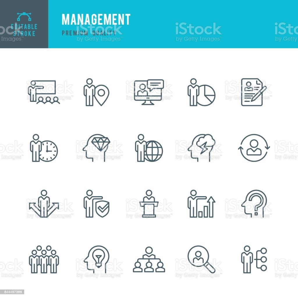 Management - dünne Linie-Icon-Set – Vektorgrafik