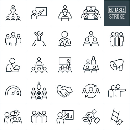 Management Thin Line Icons - Editable Stroke
