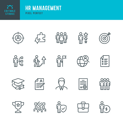 HR Management - thin line vector icon set. 20 linear icon. Pixel perfect. Editable outline stroke. The set contains icons: Human Resources, Career, Recruitment, Business Person, Resume, Manager, Group Of People, Teamwork, Skill, Candidate.