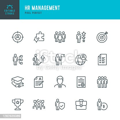 istock HR Management - thin line vector icon set. Pixel perfect. Editable stroke. The set contains icons: Human Resources, Career, Recruitment, Business Person, Group Of People, Teamwork, Skill, Candidate. 1262635089