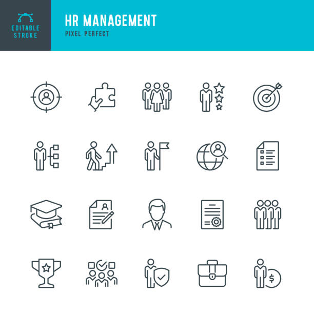 HR Management - thin line vector icon set. Pixel perfect. Editable stroke. The set contains icons: Human Resources, Career, Recruitment, Business Person, Group Of People, Teamwork, Skill, Candidate. HR Management - thin line vector icon set. 20 linear icon. Pixel perfect. Editable outline stroke. The set contains icons: Human Resources, Career, Recruitment, Business Person, Resume, Manager, Group Of People, Teamwork, Skill, Candidate. aptitude stock illustrations
