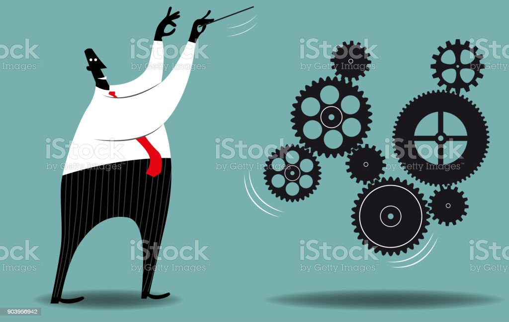 Management A businessman leading gears as a musical conductor would do. Advice stock vector