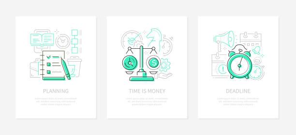 Management - vector line design style banners set vector art illustration