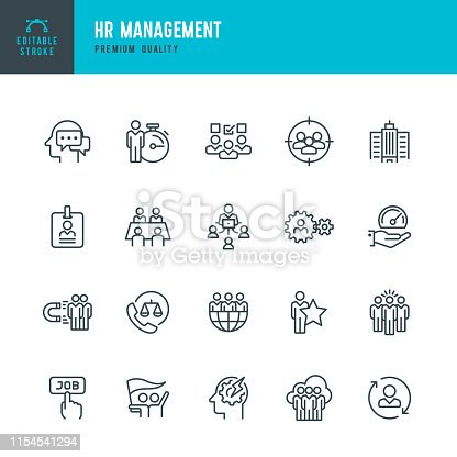 Set of 20 Human Resource Management line vector icons. Human Resources, Management, Teamwork, Global Business, Labor Union and so on.