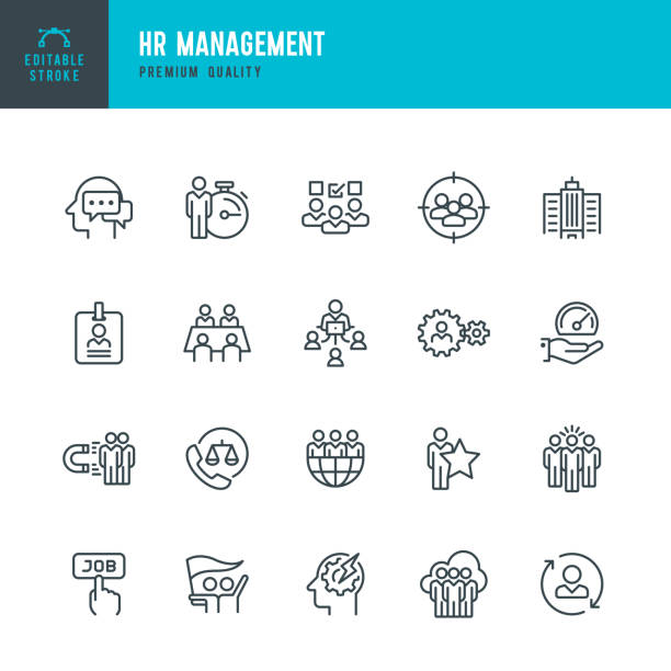 HR Management - vector line icon set Set of 20 Human Resource Management line vector icons. Human Resources, Management, Teamwork, Global Business, Labor Union and so on. labor union stock illustrations